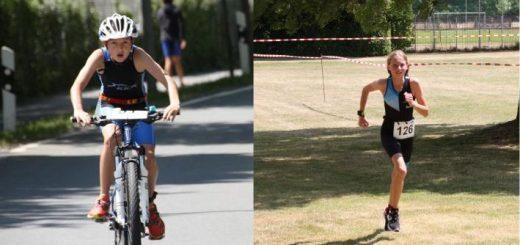 links: junge Radfahrerin - rechts: Läuferin